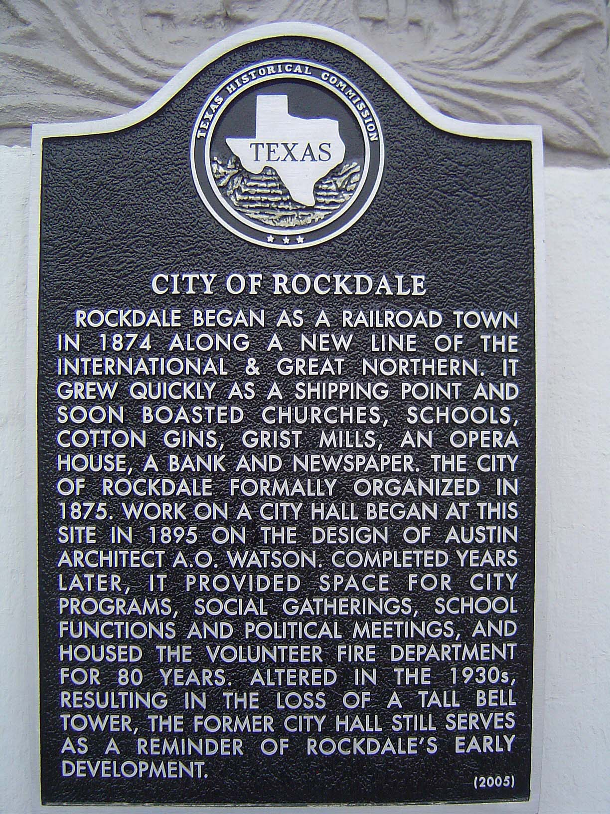 City of Rockdale Historical Marker